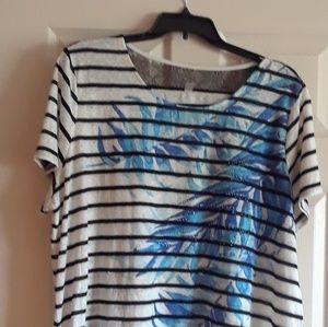 Women's plus size 26/28 off white printed shirt